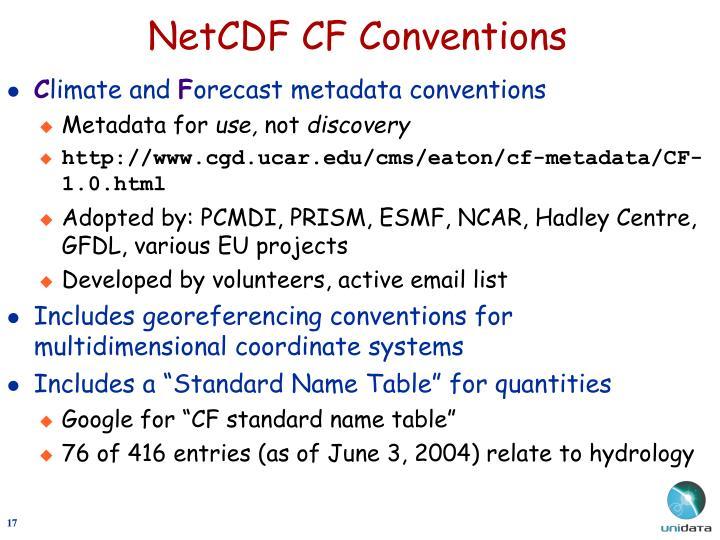 NetCDF CF Conventions