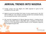 arrival trends into nigeria