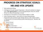 progress on strategic goals hr and hta update