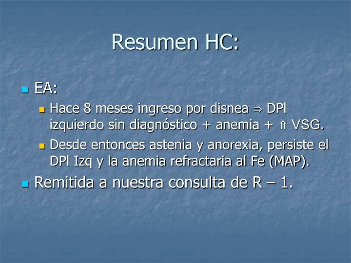 Resumen HC: