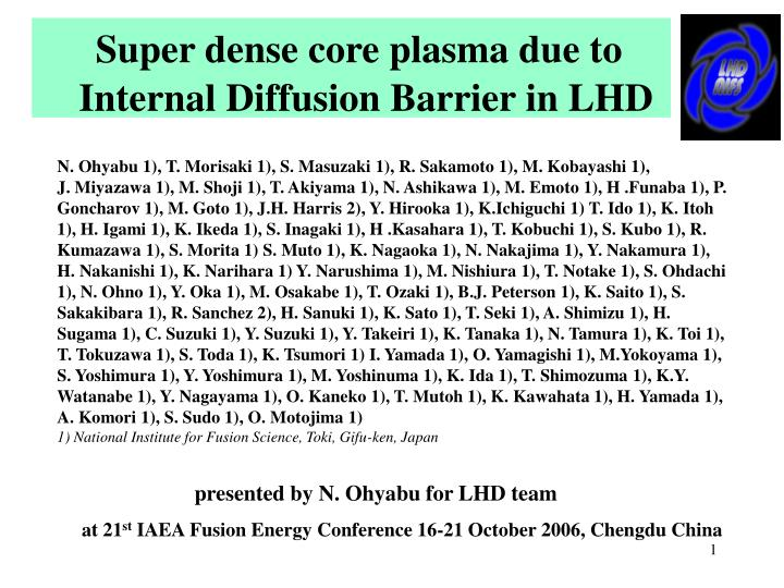 super dense core plasma due to internal diffusion barrier in lhd n.