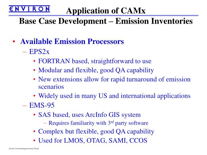 Application of CAMx