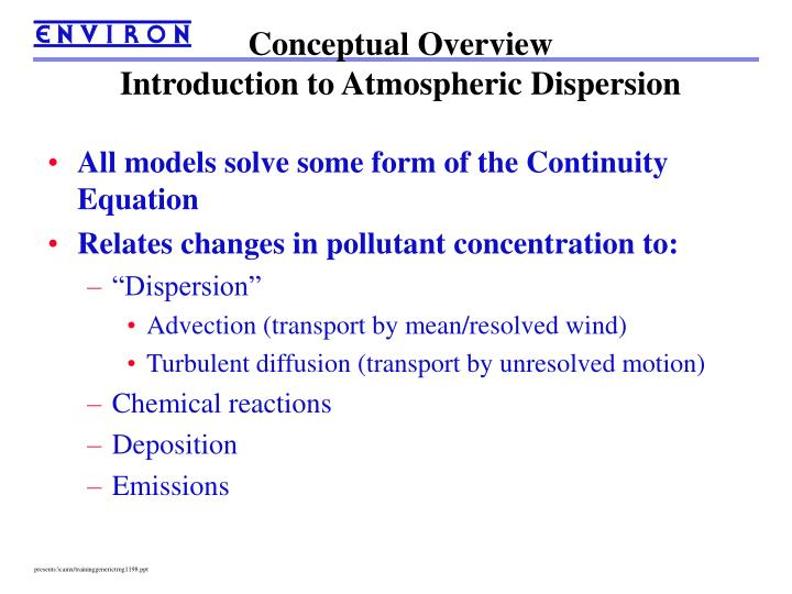 Conceptual overview introduction to atmospheric dispersion