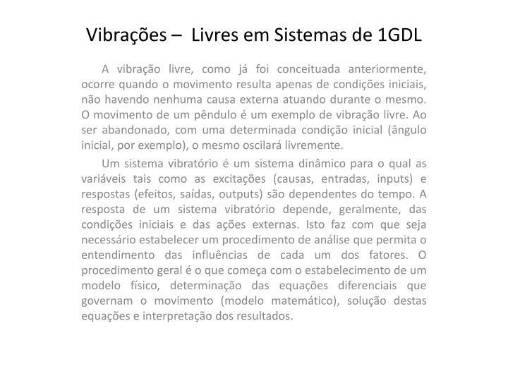 Vibra es livres em sistemas de 1gdl2