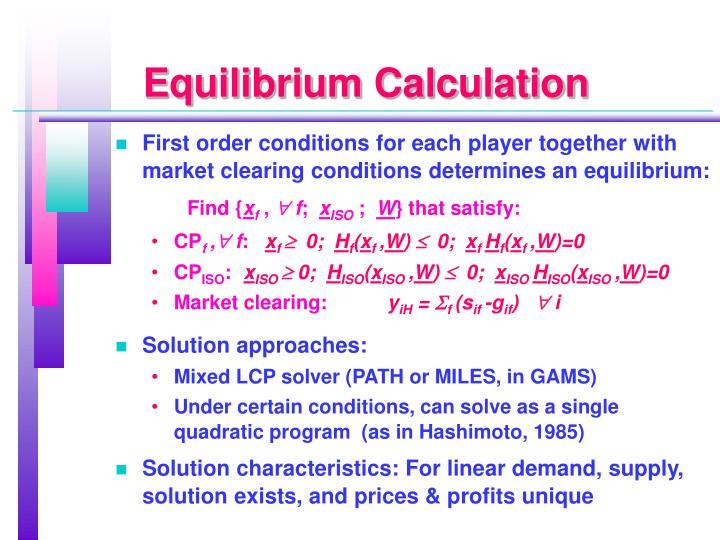 Equilibrium Calculation