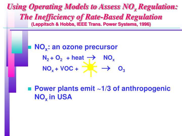 Using Operating Models to Assess NO