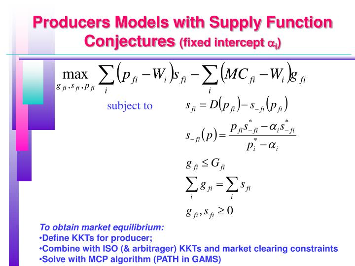 Producers Models with Supply Function Conjectures