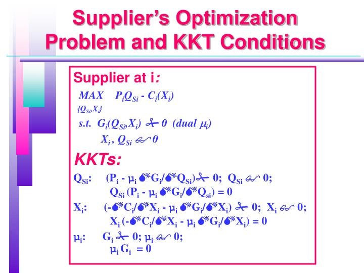 Supplier's Optimization Problem and KKT Conditions
