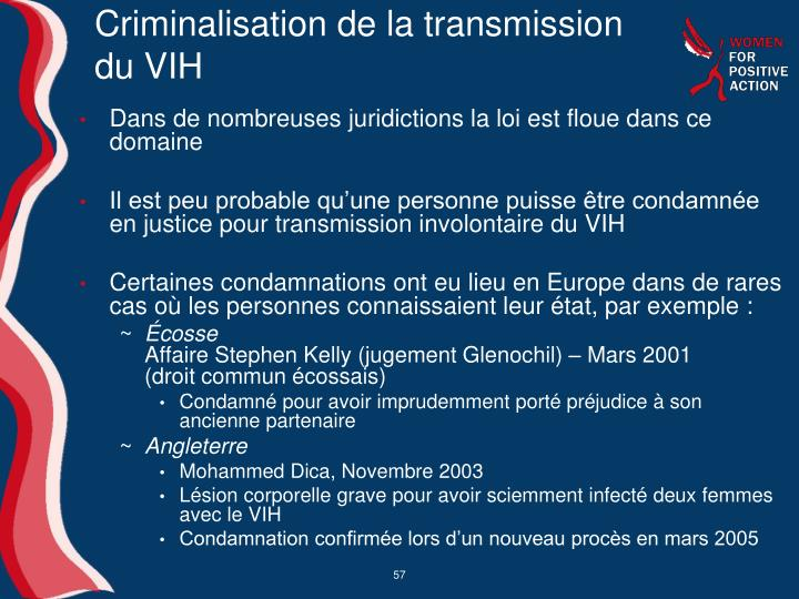 Criminalisation de la transmission