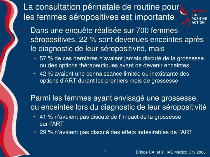 La consultation périnatale de routine pour les femmes séropositives est importante