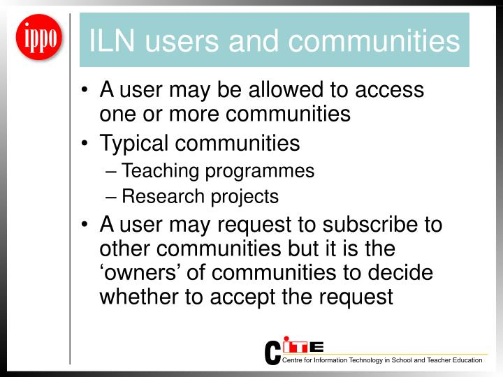 ILN users and communities