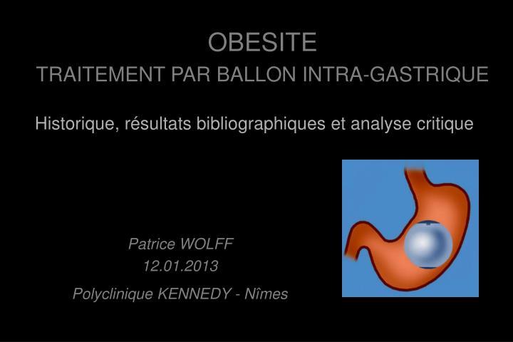 PPT - OBESITE TRAITEMENT PAR BALLON INTRA-GASTRIQUE