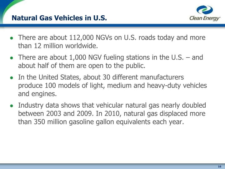 Natural Gas Vehicles in U.S.