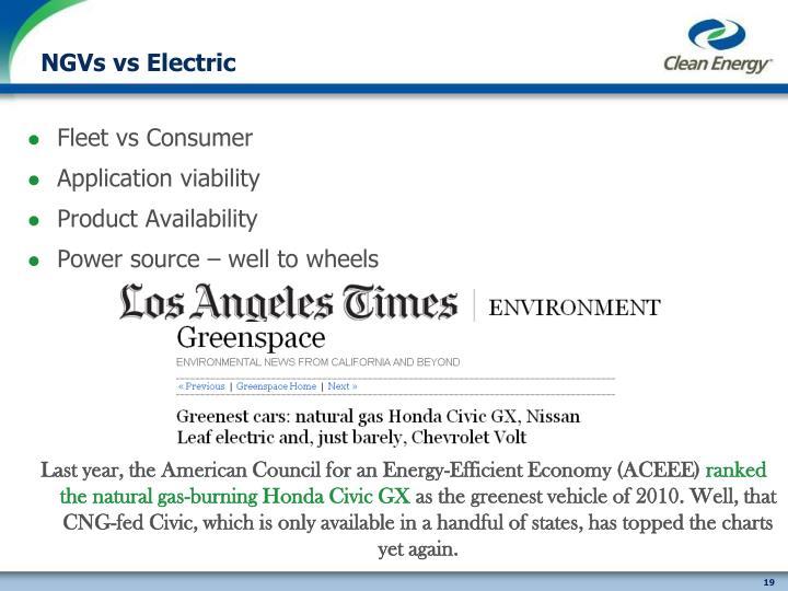 NGVs vs Electric