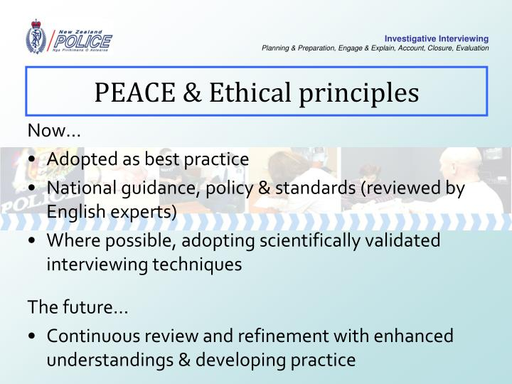 PEACE & Ethical principles