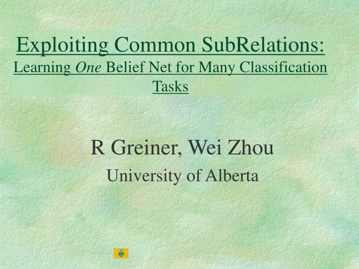 exploiting common subrelations learning one belief net for many classification tasks n.