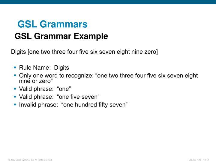 GSL Grammars