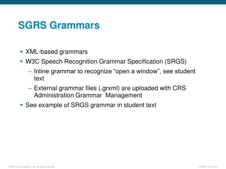 SGRS Grammars