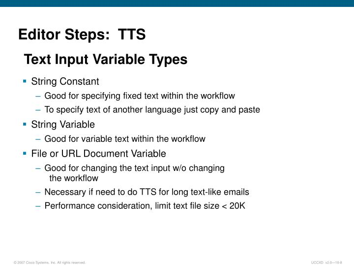 Editor Steps:  TTS
