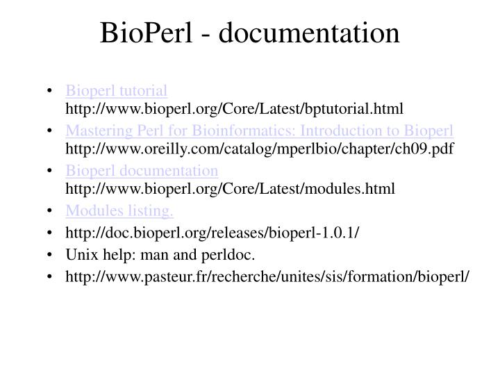 Bioperl documentation