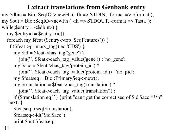 Extract translations from Genbank entry