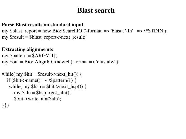 Blast search