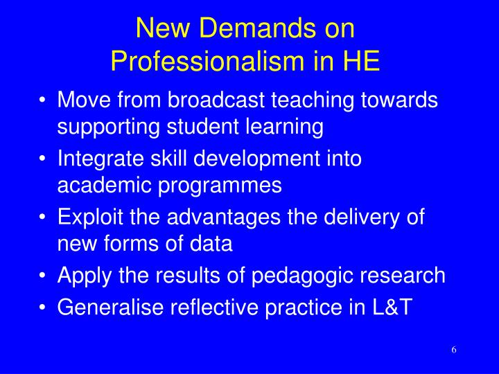 New Demands on Professionalism in HE