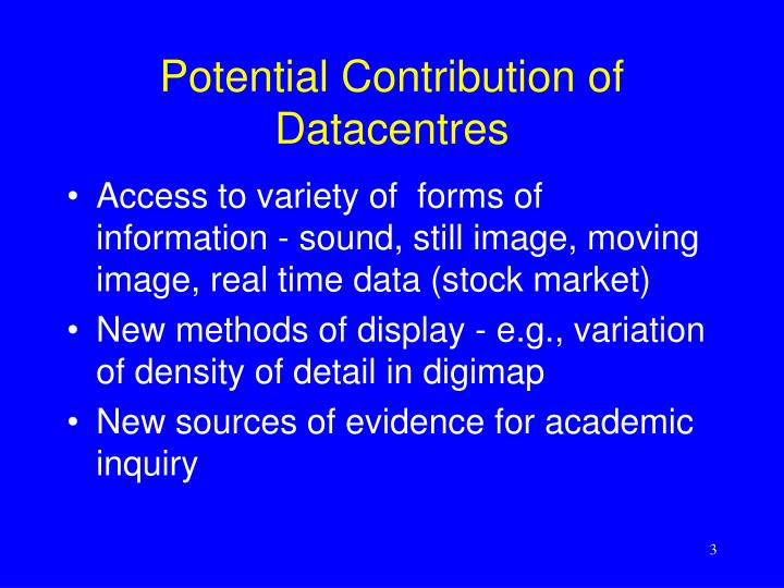 Potential contribution of datacentres
