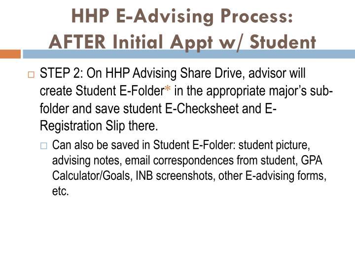 HHP E-Advising Process: