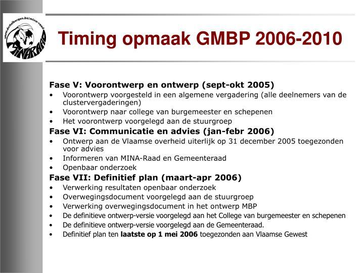Timing opmaak GMBP 2006-2010