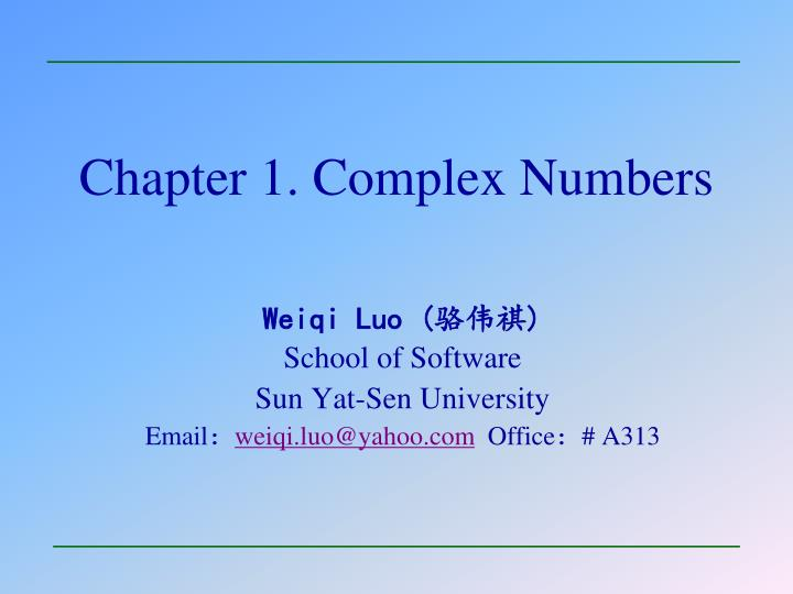 chapter 1 complex numbers