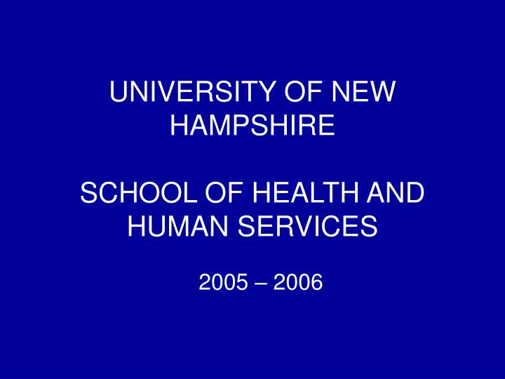 university of new hampshire school of health and human services n.
