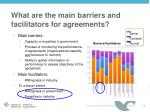what are the main barriers and facilitators for agreements