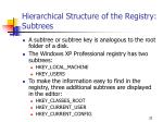 hierarchical structure of the registry subtrees