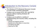 introduction to the recovery console