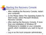 starting the recovery console