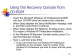 using the recovery console from cd rom