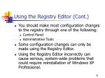 using the registry editor cont