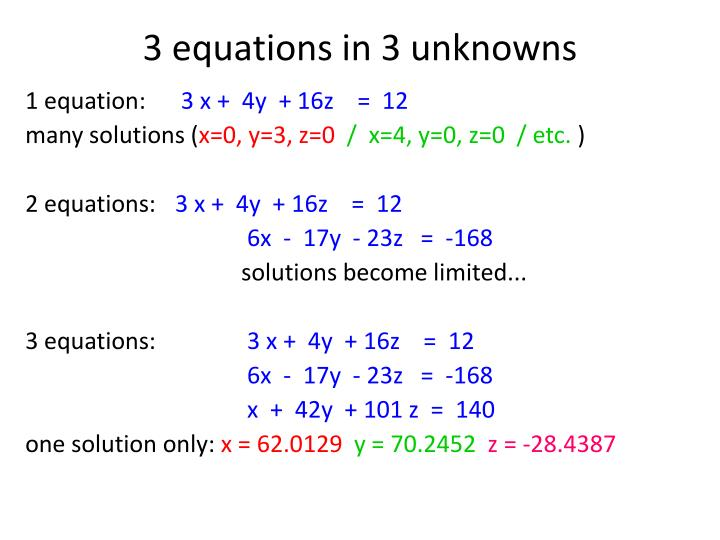3 equations in 3 unknowns