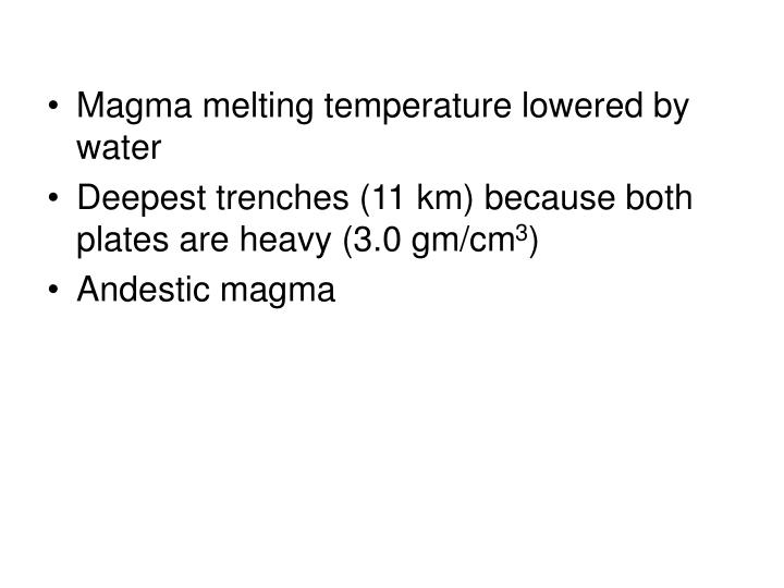 Magma melting temperature lowered by water