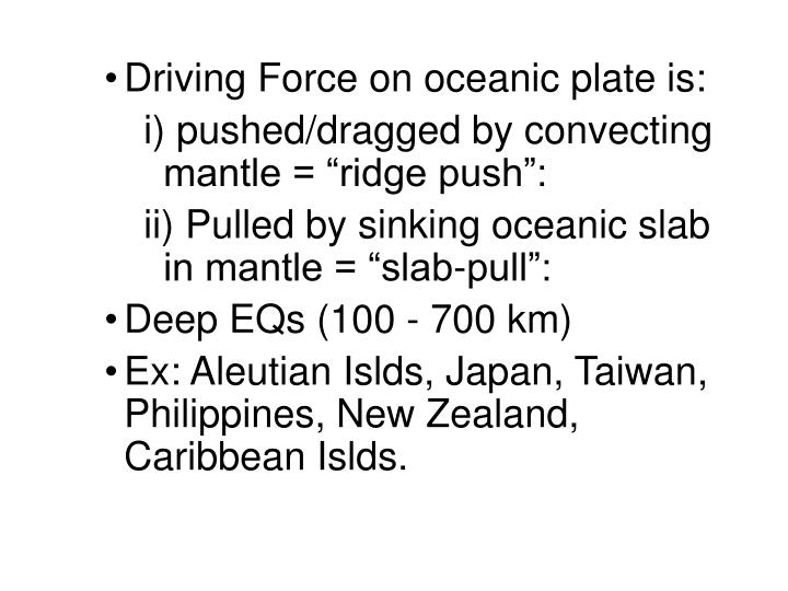 Driving Force on oceanic plate is: