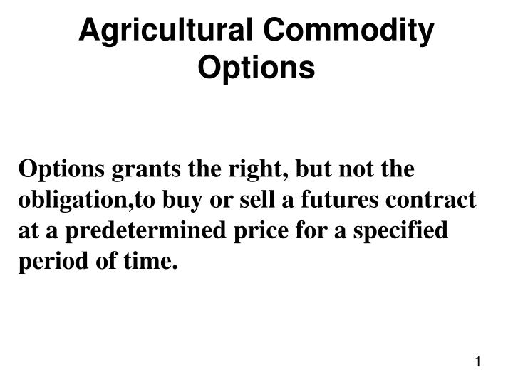 agricultural commodity options n.