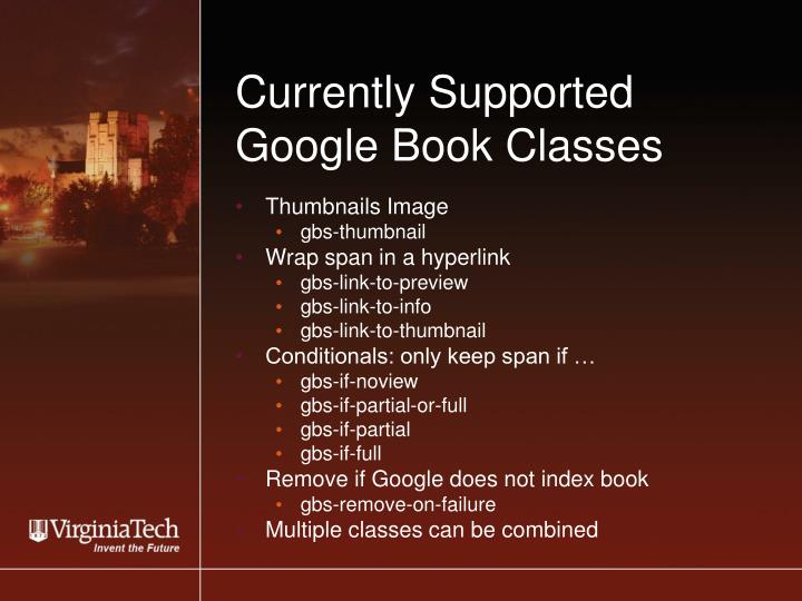 Currently Supported Google Book Classes