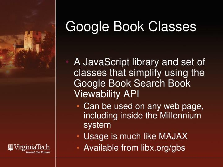 Google Book Classes