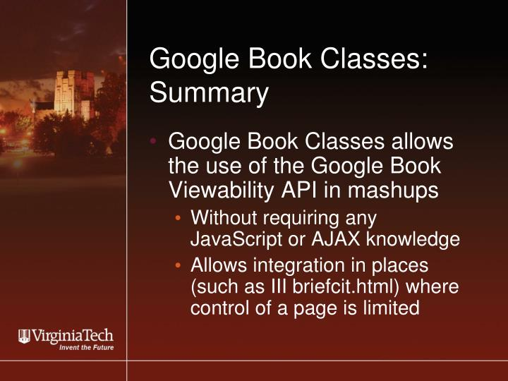 Google Book Classes: Summary