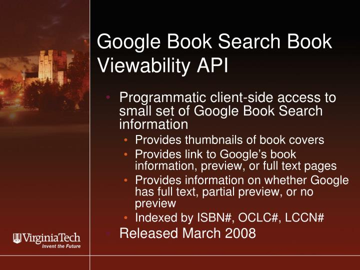 Google Book Search Book Viewability API