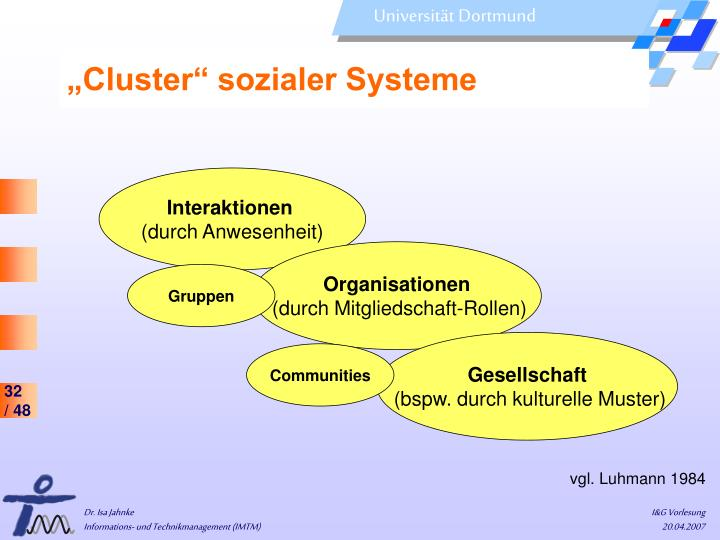 """Cluster"" sozialer Systeme"