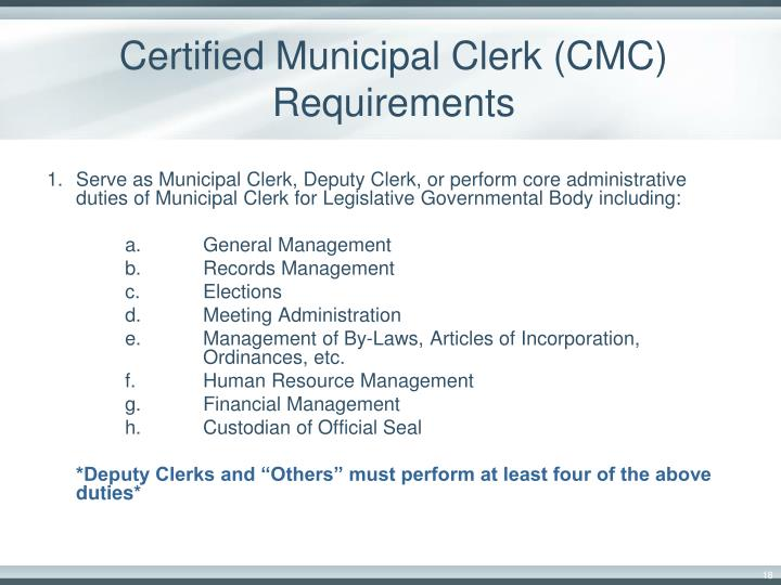 Certified Municipal Clerk (CMC) Requirements