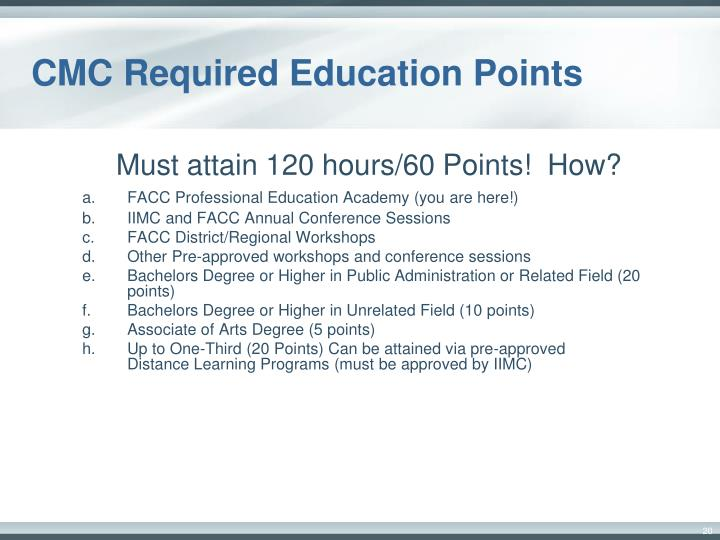 CMC Required Education Points