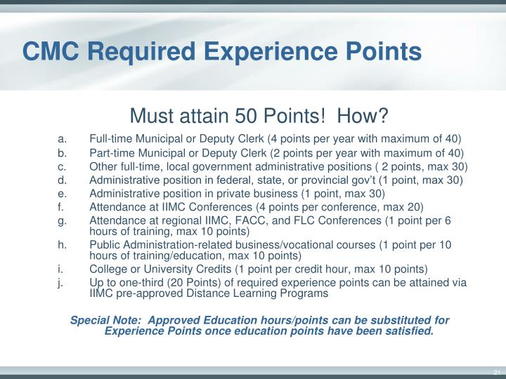 CMC Required Experience Points